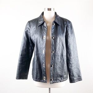 Dialogue black quilted leather jacket
